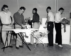 1957, Students in Deglman Hall Laundry