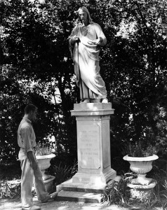 1958, Person by Sacred Heart Statue, Jesuit Gardens