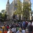 On September 11, 2001, the Creighton community responded by coming together for prayer in front of St. John's Church.