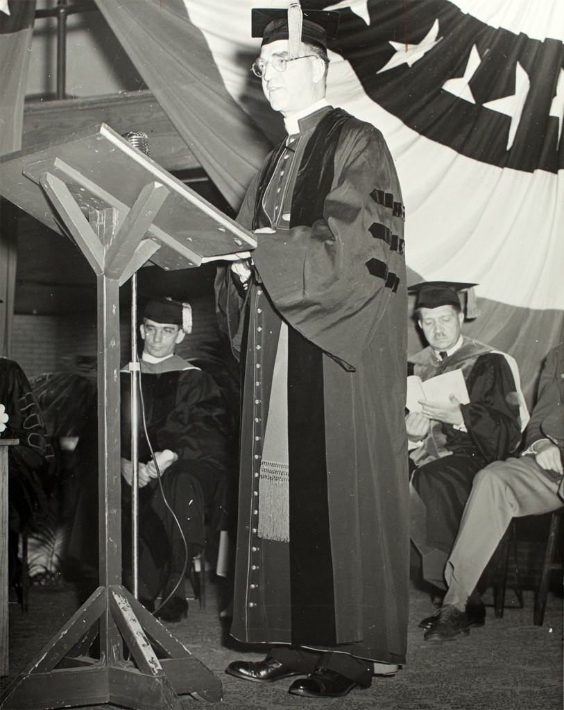 """INFO FROM SLEEVE: Flanagan, Edward J. LLD '41INFO, BACK OF PHOTO:""""Msgm E.J. Flanagan [/] 1941 comm. speaker [/] Fr. G.H. Fitzgibbons, Arts dean and Dr. C.M. Wilhelisy, Med. dean in b.ground""""OTHER AFFILIATED INFO:"""