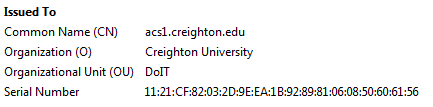 Certificate information for acs1.creighton.edu