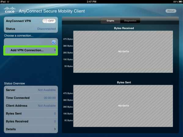 Screenshot of the first set in creating a VPN connection using the AnyConnect iPad App